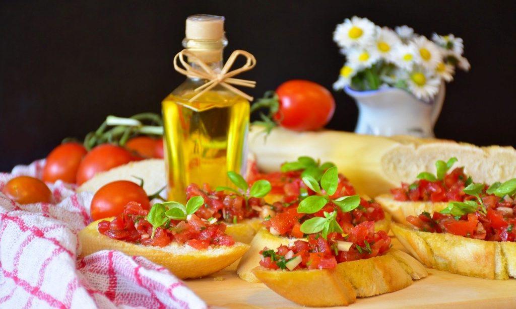bruschetta, bread, baguette